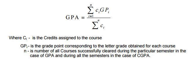 CGPA Calculation for 2015 Regulation